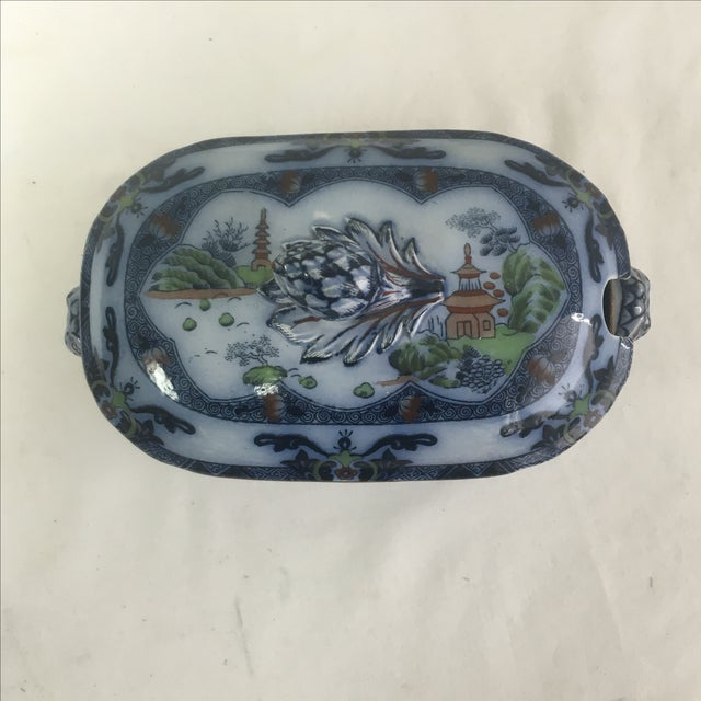 Spode Flow Blue & Polychrome Sauce Tureen - Image 3 of 9