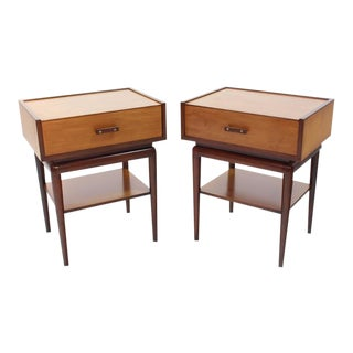 Pair of Two-Tone One Drawer Nightstands on Tall Tapered Legs For Sale