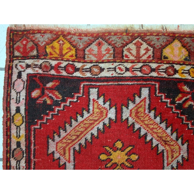 1960s 1960s, Handmade Vintage Turkish Yastik Rug 1.6' X 3.1' For Sale - Image 5 of 12