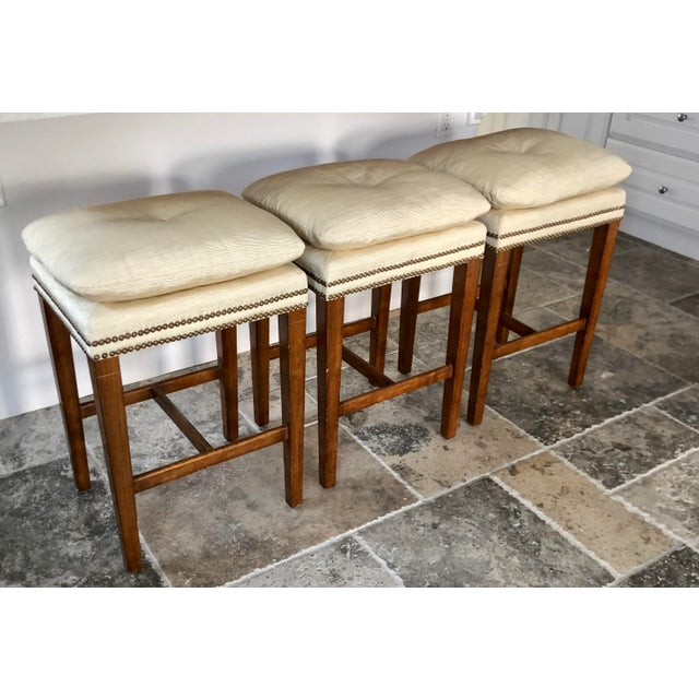 1990s J. Robert Scott Counter Height Bar Stools - Set of 3 For Sale - Image 5 of 5