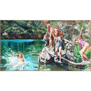 Monumental Oil on Canvas of a Family Swimming in a Lake by Artist Susan Clover For Sale