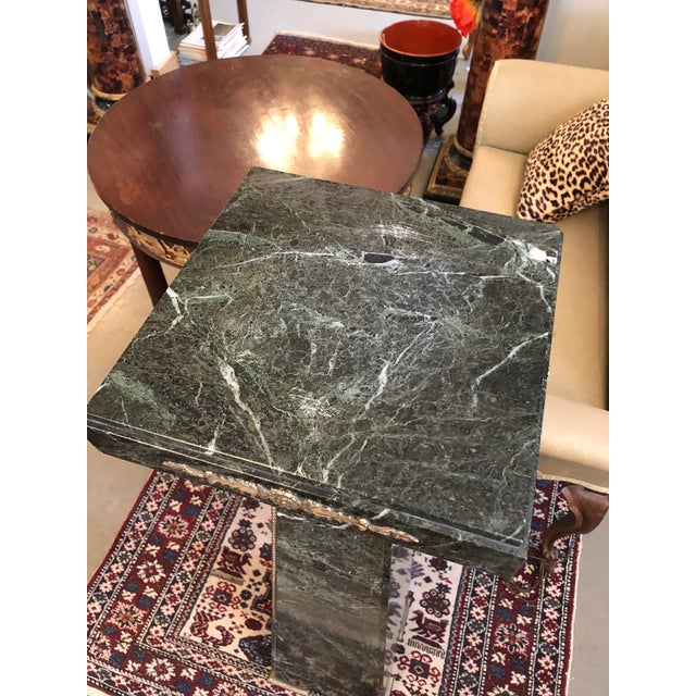 Green 19th Century French Green Marble and Bronze Ormolu Applique Pedestal For Sale - Image 8 of 12