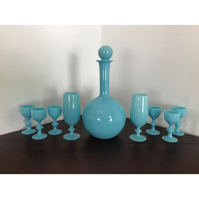 Early 20th Century French Blue Opaline Decanter & Cordial Goblets Glassware by Portieux Vallerysthal - Set of 9 For Sale - Image 10 of 10