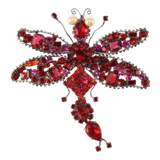 "Lawrence Vrba Huge 4.75"" Red Rhinestone Dragonfly Brooch Pin For Sale"
