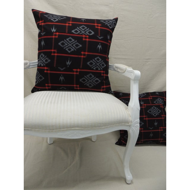 Feather Vintage Asian Red & Black Ikat Woven Textile Square Decorative Pillows- a Pair For Sale - Image 7 of 9