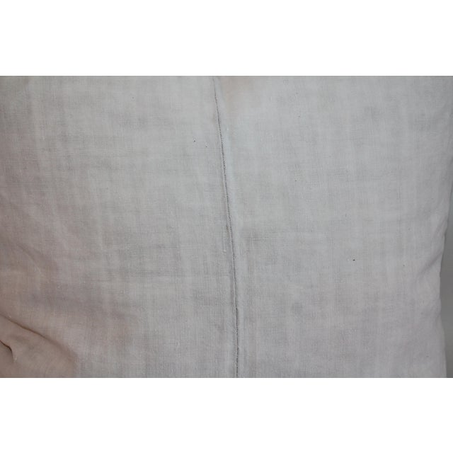 Linen Crewelwork Embroidered White Pillow For Sale - Image 7 of 7