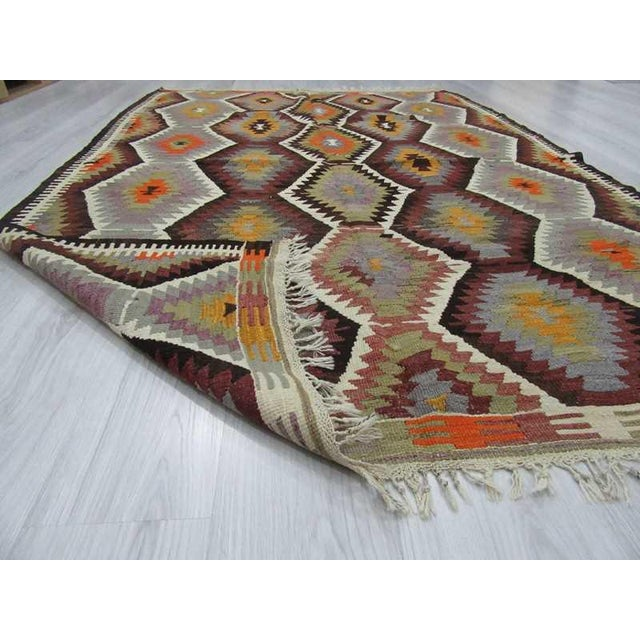 """Handwoven Vintage Decorative Colourful Turkish Kilim Area Rug - 5'3"""" x 7'7"""" For Sale In Los Angeles - Image 6 of 6"""