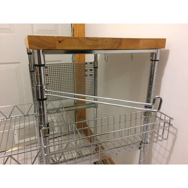 Kitchen Cart With Wood Butcher Block Top For Sale - Image 11 of 13