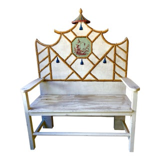 Bob Christian Decorative Hand Painted Bench For Sale