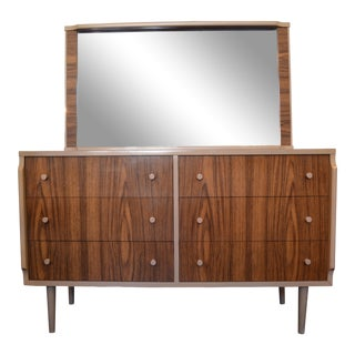 Kent Coffey Mid-Century Teak Grain and Oyster White Dresser with Mirror
