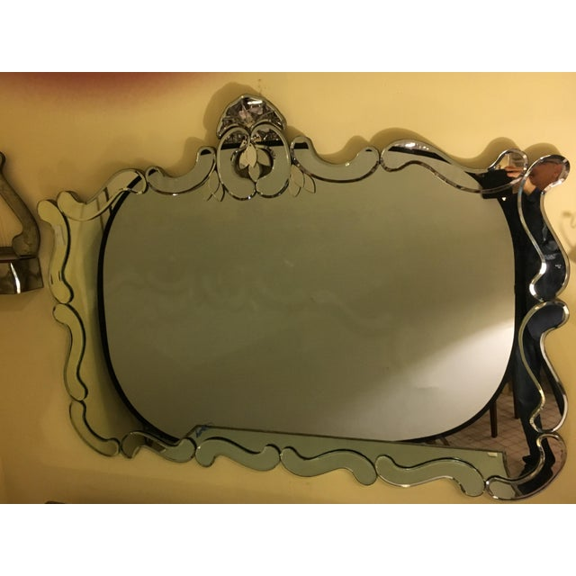 Silver Venetian Style Over Mantle or Console Mirror For Sale - Image 8 of 8