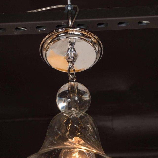 1980s Handblown Smoke Tinted Murano Glass Pendant with Crystal Ball Embellishment For Sale - Image 5 of 6