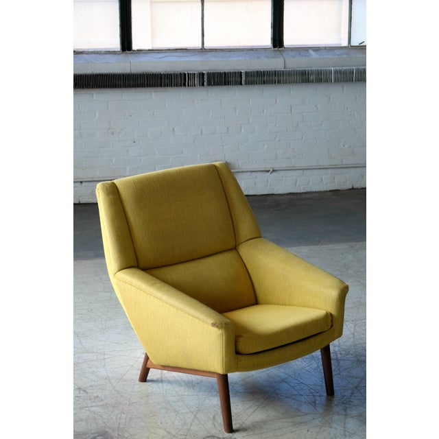 Yellow Folke Ohlsson 1950s Mid-Century Danish Teak Lounge Chair for Fritz Hansen For Sale - Image 8 of 10