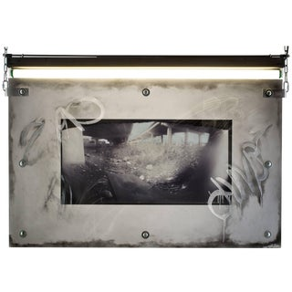"Karen Brown ""Board"" Urban Art Pinhole Photo Transparency and Lucite For Sale"