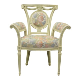 Vintage French Style Hollywood Regency Carved Painted Rolled Fireside Arm Chair For Sale