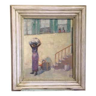 "1934 Figurative Oil Painting ""Laundry Day"" For Sale"