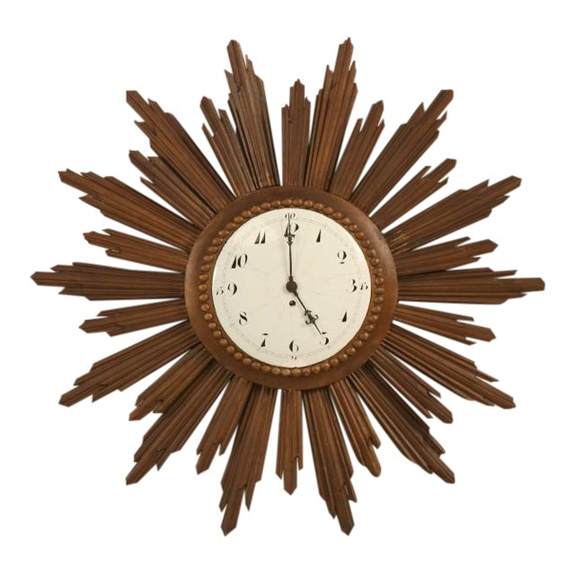 French Sunburst Clock with Porcelain Face For Sale