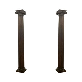 Fluted Oak Corinthian Columns From Rose Hill-a Pair For Sale