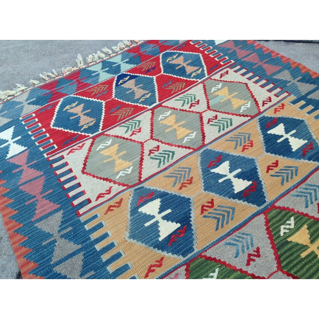 "Turkish Handwoven Wool Kilim Rug - 4'2"" X 5'11"" For Sale - Image 4 of 10"