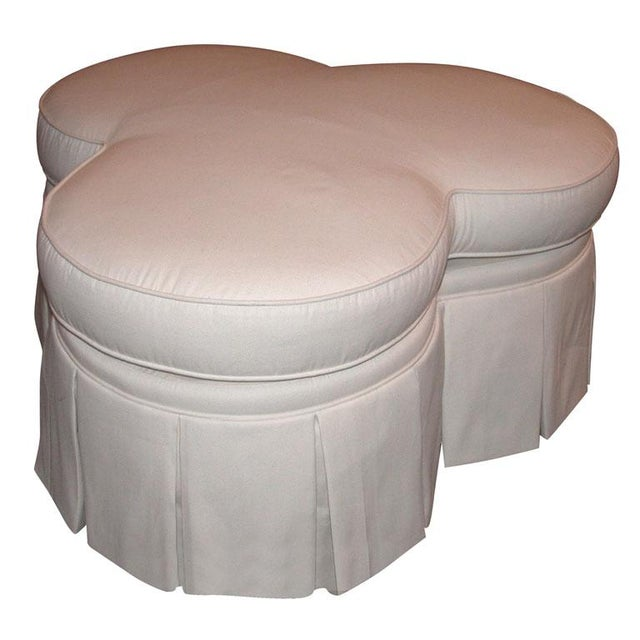 Ivory Clover Shaped Ottoman or Coffee Table - Image 1 of 8