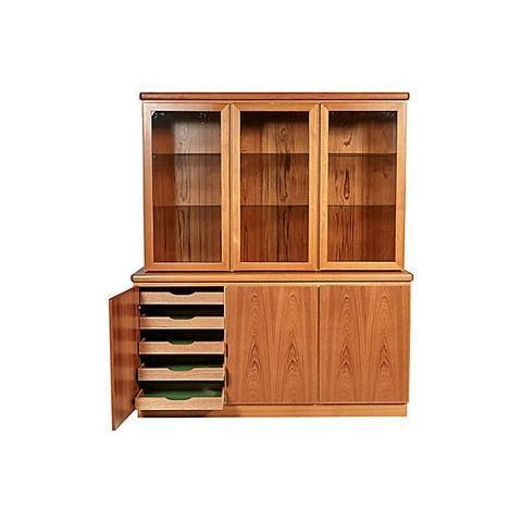 Vintage Danish teak storage hutch designed by Rasmus, Mobelfabrik, circa 1970. The hutch is two pieces with drawers and...