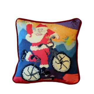Danish Modern Santa Claus Velvet Feather Down Pillow, Last Call! For Sale