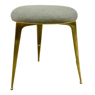 Ej Victor Modern Round Gray Wool and Brass Stool For Sale