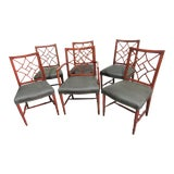 Image of Chinese Chippendale Faux Bamboo Mahogany Dining Chairs-Set of 6 For Sale
