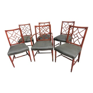 Chinese Chippendale Faux Bamboo Mahogany Dining Chairs-Set of 6 For Sale