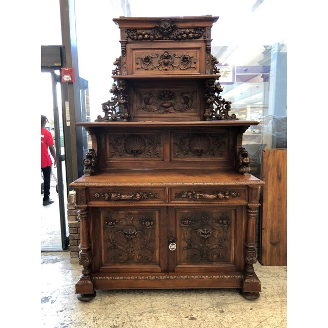 19th Century St. Hubert French Louis XIII Carved Walnut Buffet For Sale - Image 11 of 11