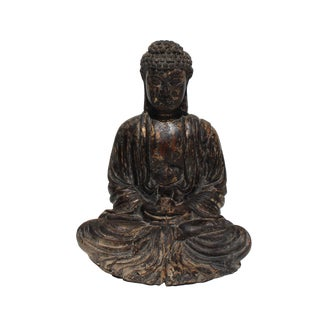 Vintage Chinese Golden Brown Glazed Buddha Gautama Amitabha Wood Statue For Sale