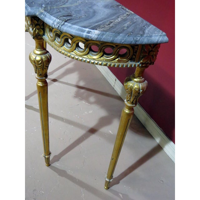 Wood Regency Style Marble Top Demi-Lune Console Table For Sale - Image 7 of 10