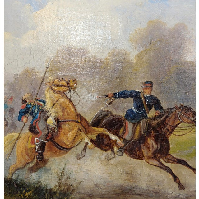 Hermann Volz -19th Century Cavalry Battle -Oil Painting C.1870s For Sale - Image 4 of 9