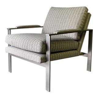 Milo Baughman Mid Century Modern Chrome Armchair For Sale