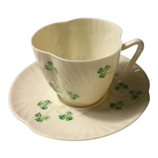Belleek Shamrock Cup and Saucer For Sale