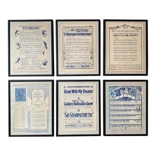 1920s Vintage Framed Blue & White Sheet Music Advertisements - Set of 6 For Sale