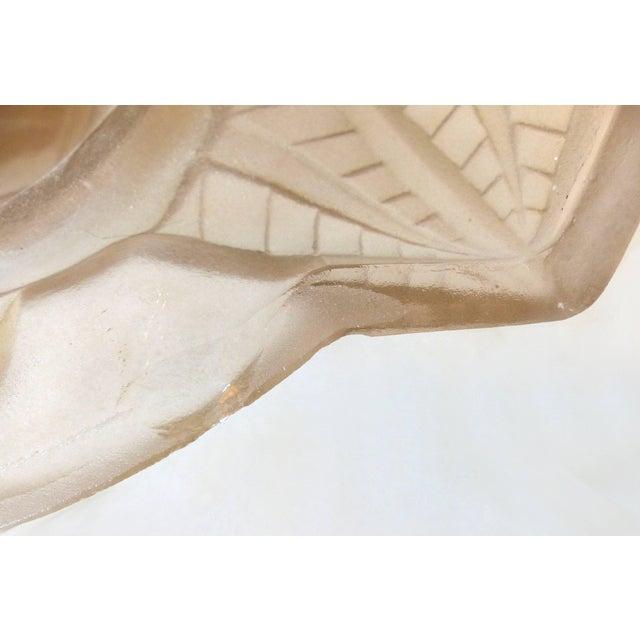 Degué Degue French Art Deco Cast Mauve Glass Pendant Chandelier, Signed, Circa 1930 For Sale - Image 4 of 13