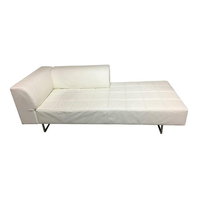 Poltrona Frau Quadra White Leather Chaise | Chairish