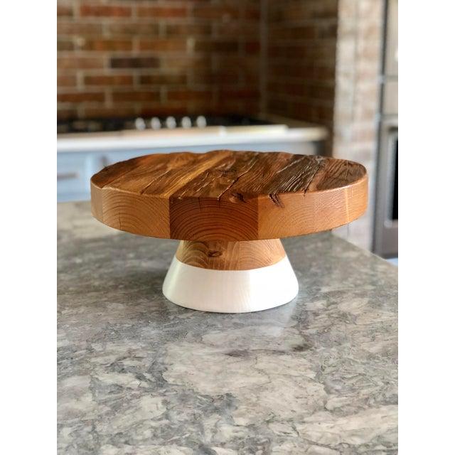 Reclaimed Wood Serving Platter / Cake Plate For Sale - Image 4 of 4