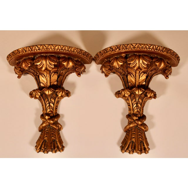 1960s Hollywood Regency Italian Golden Wheat Wall Shelves - a Pair For Sale - Image 11 of 11