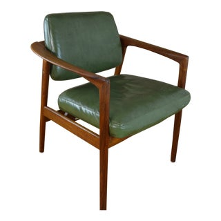 Dux Sweden Teak and Leather Mid Century Modern Arm Chair For Sale