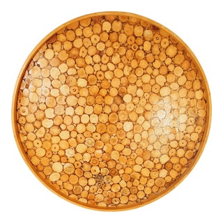 Mid 20th Century Organic Round Wood Slice Tray For Sale