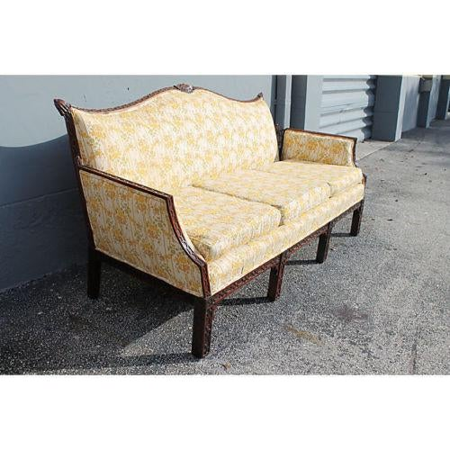 Traditional Carved Asian Chinoiserie Sofa For Sale - Image 5 of 11