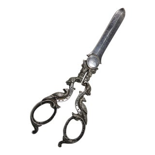 1880s Antique Sterling Silver Grape Shears For Sale