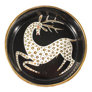 Waylande Gregory Signed Mid-Century Dish or Catchall With Leaping Deer For Sale