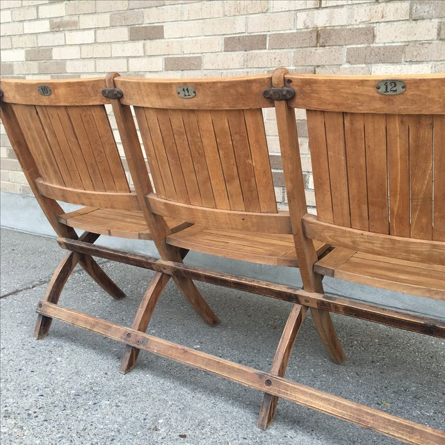 Vintage Tandem Folding Stadium Theatre Seats For Sale - Image 7 of 7
