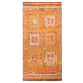 "Vintage Anatolian Geometric Golden Yellow Wool Kilim Rug-5'6'x9'6"" For Sale"