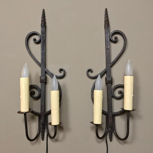 Pair Antique Rustic Wrought Iron Wall Sconces For Sale - Image 10 of 10