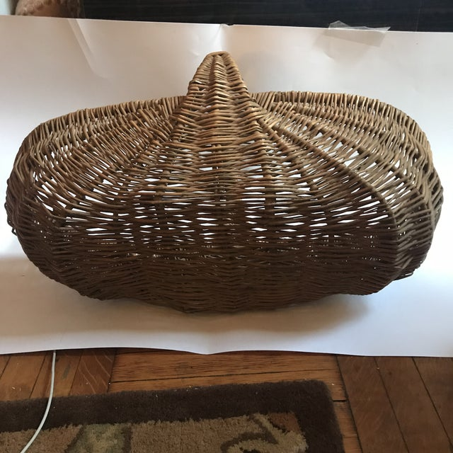 Camel Mid 19th Century Antique Willow Reed Buttocks Basket For Sale - Image 8 of 9
