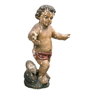 Carved and Polychromed Putti With Lamb Sculpture For Sale